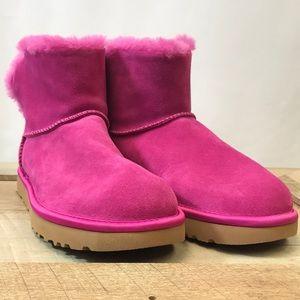 Ugg Classic Mini Bling Fuschia Suede Boots